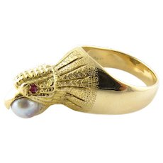 Vintage 14 Karat Yellow Gold, Pearl and Ruby Eagle Ring Size 7.75