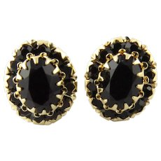 Vintage 14 Karat Yellow Gold Garnet Earrings