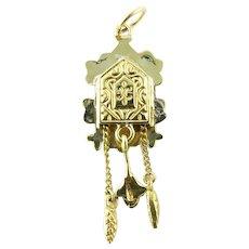 Vintage 14 Karat Yellow Gold Cuckoo Clock Charm