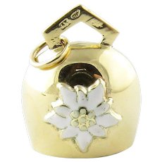 Vintage Mechanical 14 Karat Yellow Gold Bell with Edelweiss Flower Charm