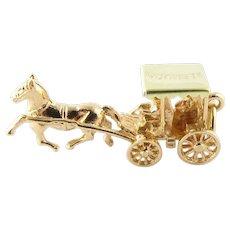 Vintage 14 Karat Yellow Gold Bermuda Horse and Buggy Charm