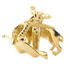 Vintage 18 Karat Yellow Gold Matador and Bull Charm