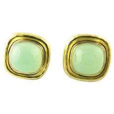 Vintage 18 Karat Yellow Gold and Jade MAZ Earrings