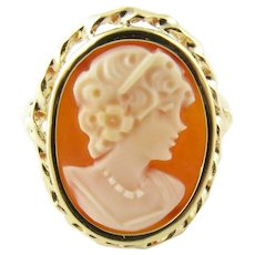 Vintage 14 Karat Yellow Gold Cameo Ring Size 7