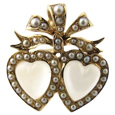Antique Victorian 14K Yellow Gold Double Heart Moonstone and Seed Pearl Pendant Pin
