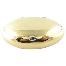 Vintage 14 Karat Yellow Gold and Sapphire Pill Box