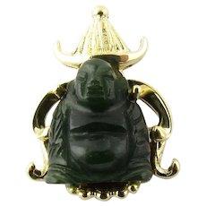 Vintage 14 Karat Yellow Gold Onyx Buddha Pendant