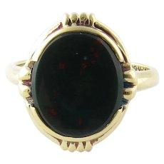 Vintage 10 Karat Yellow Gold Bloodstone Ring Size 6