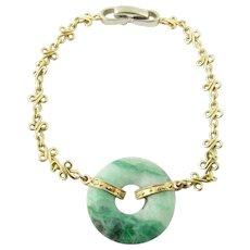 "Vintage 14K White and Yellow Gold Jade Bracelet 7"""