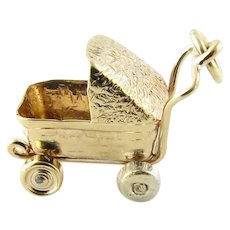 Vintage 10 Karat Yellow Gold Baby Carriage Charm