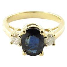 Vintage 14 Karat Yellow Gold Sapphire and Diamond Ring SIze 6.25
