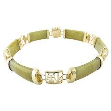Vintage 14 Karat Yellow Gold Jade Bracelet
