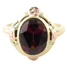 Vintage 10 Karat Yellow Gold Garnet Ring Size 4.75