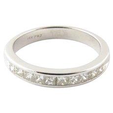 Vintage 14 Karat White Gold Princess Cut Diamond Wedding Band Size 7.5