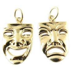 Vintage 14 Karat Yellow Gold Comedy/Tragedy Masks Charms