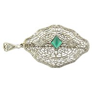 Vintage 14K White Gold Cabochon Emerald Green Glass Stone and Diamond Filigree Pendant / Brooch