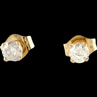 VIntage 14 Karat Yellow Gold Diamond Stud Earrings .20 ct. twt.