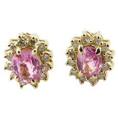 Vintage 14 Karat Yellow Gold Pink Gemstone and Diamond Earrings