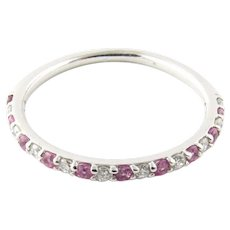 Vintage 14 Karat White Gold Pink Gemstone and Diamond Ring Size 5.5