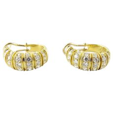Vintage 18K Yellow Gold Diamond Oval Hoop Earrings 2.5 cts.