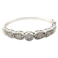 "Vintage 14K White Gold Diamond Bangle Bracelet 6.5"""