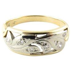 Vintage 14 Karat Yellow and White Gold Diamond Wedding Band Size 6.5