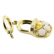 Vintage 14 Karat Yellow Gold and Opal Baby Shoe Charm