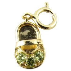 Vintage 14 Karat Yellow Gold and Peridot Baby Shoe Charm
