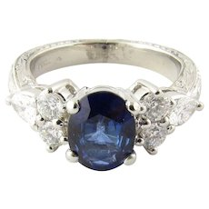 Vintage Platinum Sapphire and Diamond Ring Size: 5