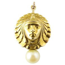 Vintage 18 Karat Yellow Gold and Pearl Goddess Pendant/Brooch