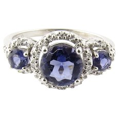 Vintage 10 Karat White Gold and Diamond Synthetic Sapphire Ring Size 8.5