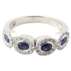 Vintage 14 Karat White Gold Sapphire and Diamond Ring Size 7.75