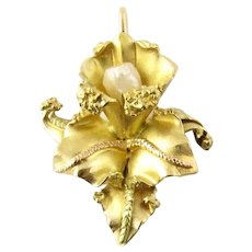 Vintage 18 Karat Yellow Gold and Pearl Orchid Pendant