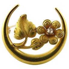 Victorian 14K Yellow Gold and Diamond Honeymoon Daisy Pin Brooch
