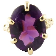 Vintage 14 Karat Yellow Gold Amethyst Ring Size 3.25