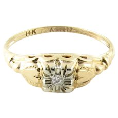 Vintage 14 Karat Yellow Gold Diamond Ring Size 5.5