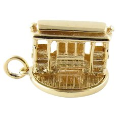 Vintage 14 Karat Yellow Gold Articulated Cable Car Charm