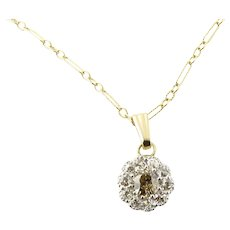 Vintage 14 Karat Yellow Gold Diamond Flower Pendant Necklace