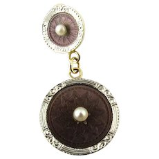 Vintage 14 Karat Yellow Gold and Pearl Ancient Coin Replica Pendant