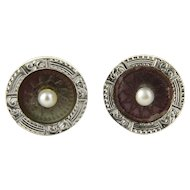 Vintage 14 Karat Yellow Gold and Pearl Ancient Coin Replica Earrings