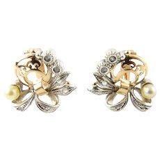 Vintage 19.2 Karat Yellow Gold Pearl and Diamond Earrings