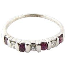 Vintage 14 Karat White Gold Ruby and Diamond Ring Size 6.5