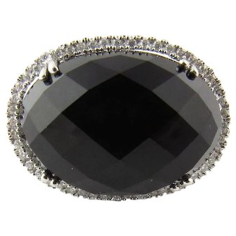 Vintage 14 Karat White Gold Black Tourmaline and Diamond Ring Size 6