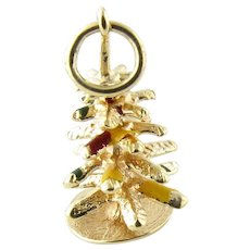 Vintage 14 Karat Yellow Gold Christmas Tree Charm