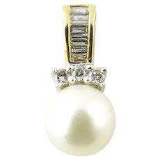 Vintage 10 Karat Yellow Gold Pearl and Diamond Pendant
