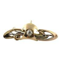 Antique 15K Yellow Gold Georgian Diamond Swirl Pin Brooch with Chatalaine Hook