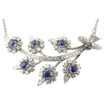 "Vintage Platinum Diamond and Sapphire Necklace (15.75""-18"")"