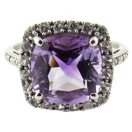 Vintage 10 Karat White Gold Amethyst, Diamond and Cubic Zirconia Ring Size 5.75