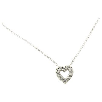 Vintage 14 Karat White Gold Diamond Heart Pendant Necklace