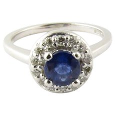 Vintage Platinum Sapphire and Diamond Ring Size 4.5